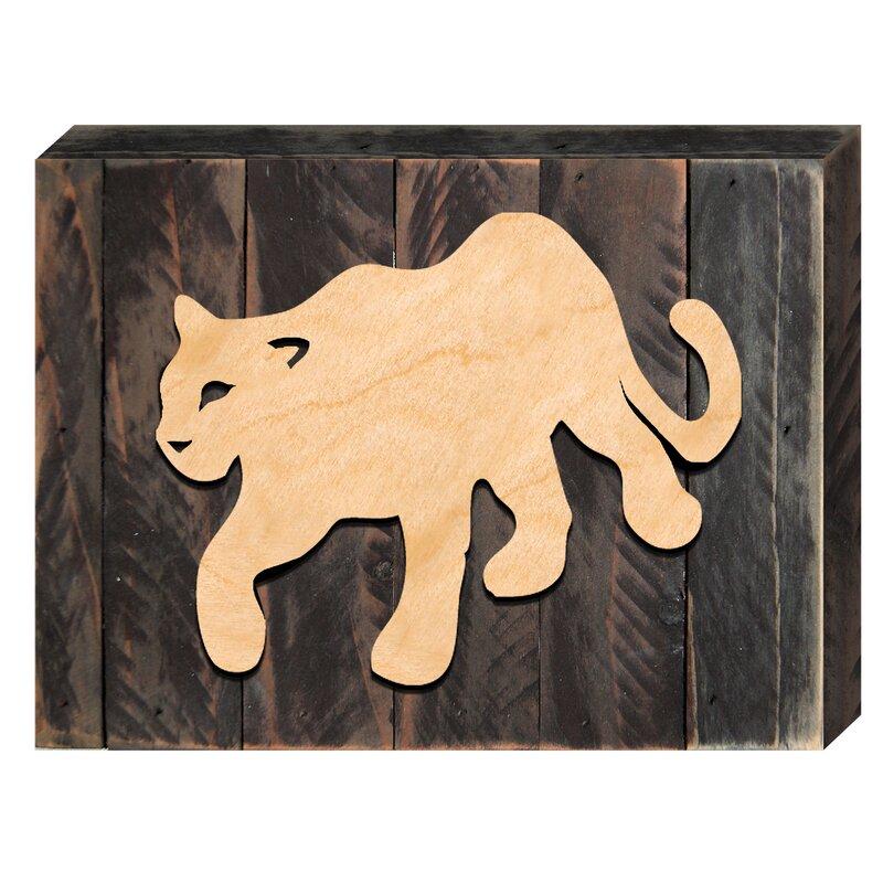 Designocracy Mountain Lion Art Rustic Wooden Wall Décor   Wayfair