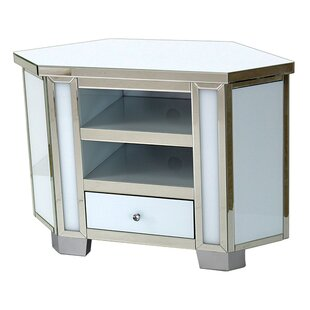 Juliet Mirrored Glass 2 Shelves And 1 Drawer Corner TV Stand By Canora Grey