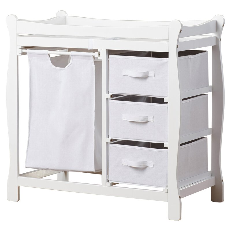 Baby Changing Table. Ocean Alexander Sleigh Style Baby Changing Table With  3 Baskets And Hamper