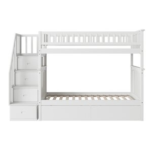 Abel Staircase Twin Over Twin Bunk Bed with Drawers by Harriet Bee