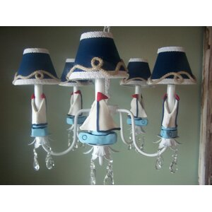 Nautical Sailboats 3-Light Shaded Chandelier