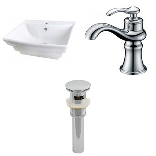 Look for Ceramic 20 Wall-Mount Bathroom Sink with Faucet and Overflow By Royal Purple Bath Kitchen