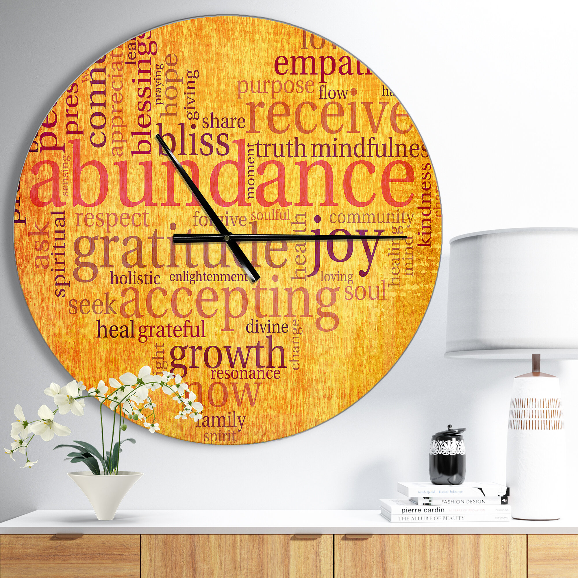 East Urban Home Designart Abundance Gratitude Joy Heart Wall Clock ...