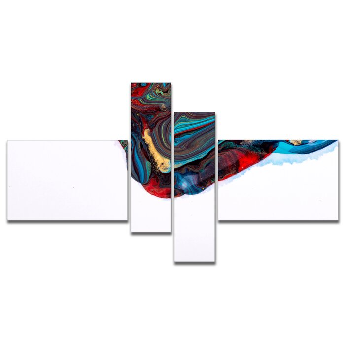 Multi Color Abstract Acrylic Paint Mix Graphic Art Print Multi Piece Image On Canvas