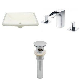 Bargain CUPC Ceramic Rectangular Undermount Bathroom Sink with Faucet and Overflow ByRoyal Purple Bath Kitchen