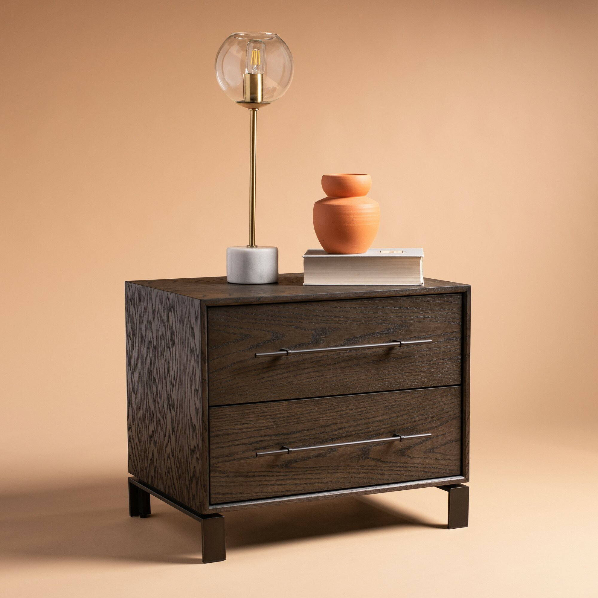 Gracie Oaks 2 Drawer Nightstand In Dark Brown Wayfair