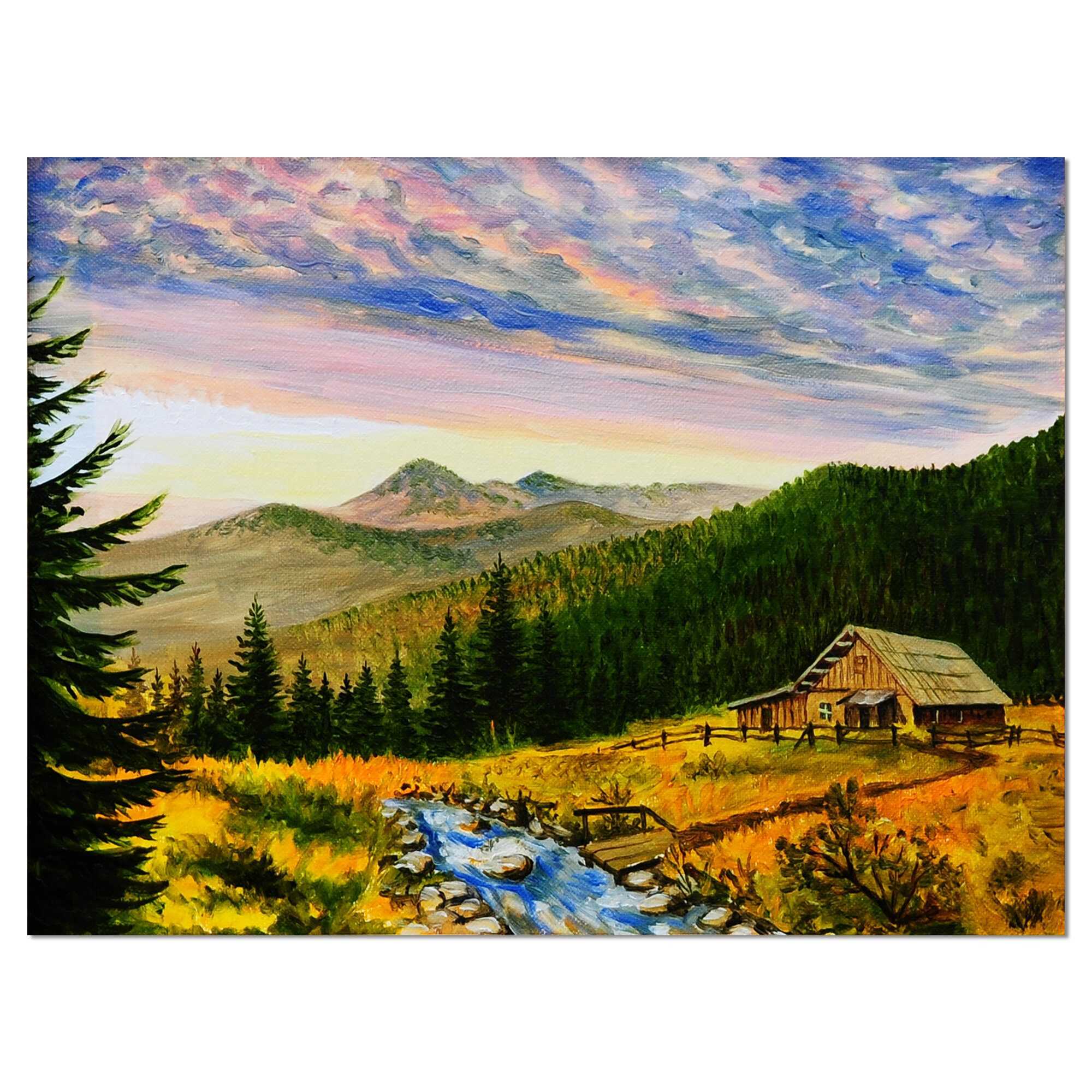 Designart Sunset In Mountains Landscape Painting Print On Wrapped Canvas Wayfair Ca