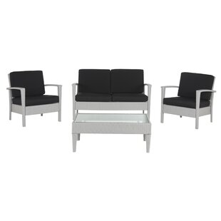 Cade 4 Piece Rattan Sofa Seating Group with Cushion by Mercury Row