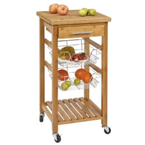 Bamboo Kitchen Cart with Storage by CORNER HOUSEWARES