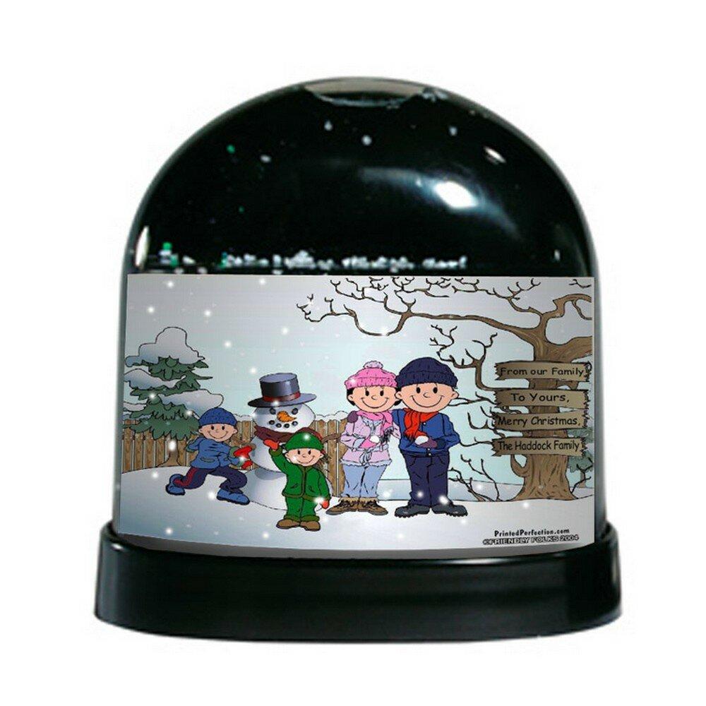 The Holiday Aisle Friendly Folks Cartoon Caricature Two Boys Snowman Family Snow Globe Wayfair