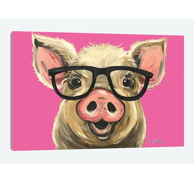 East Urban Home Rosey The Pig With Glasses By Hippie Hound Studios Graphic Art Print On Wrapped Canvas Reviews Wayfair