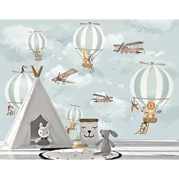Photo Maelys Hot Air Balloon Animals Textured Wall Mural byHarriet Bee