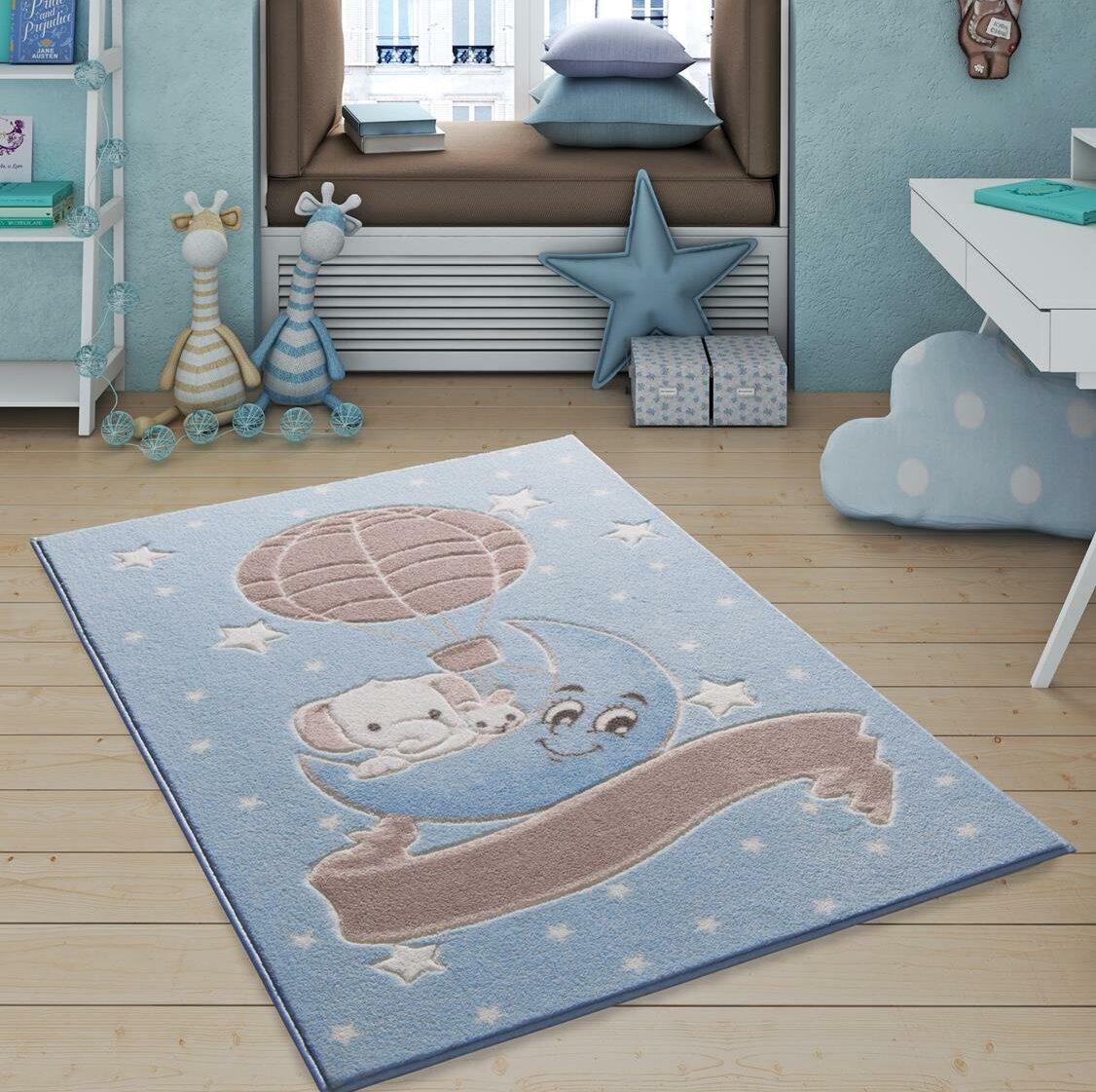 Zoomie Kids Indurial Animal Print Dhurrie Blue Area Rug Wayfair