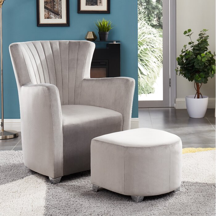 Brilliant Creighton Club Chair With Ottoman Black Velvet Bralicious Painted Fabric Chair Ideas Braliciousco