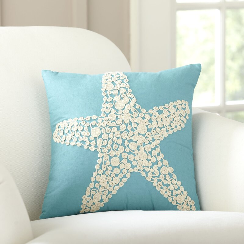 Sea Star Embellished Cotton Throw Pillow Cover & Reviews