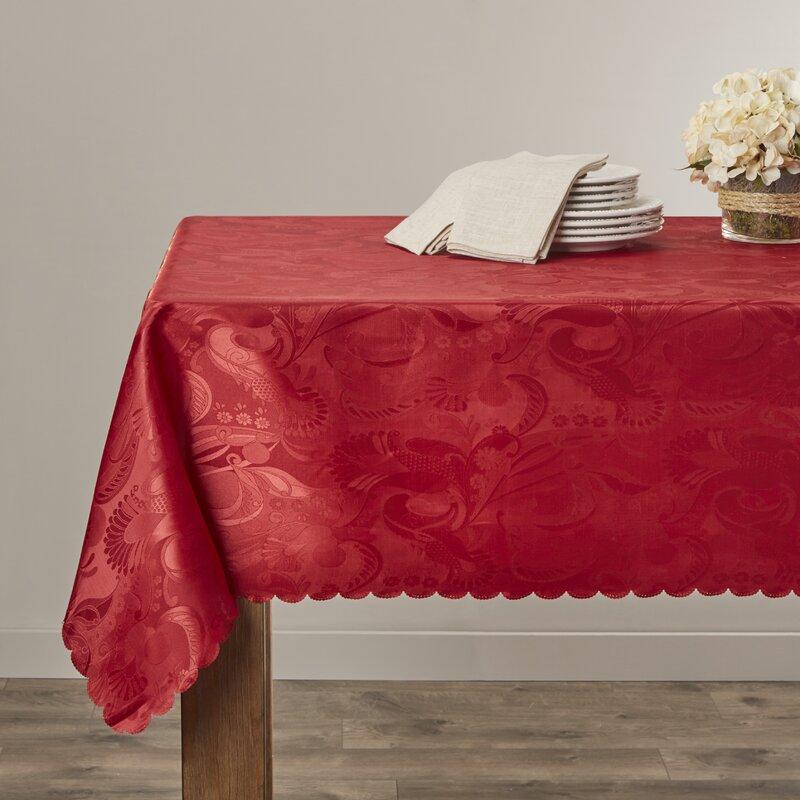 """Alcott Hill Oglethorpe Tablecloth  Size: 52"""" W x 70"""" L, Color: Burgundy"""