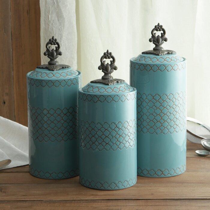 3 Piece Cylinder Kitchen Canister Set
