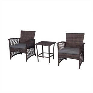 Cabrales 3 Piece Rattan 2 Person Seating Group with Cushions