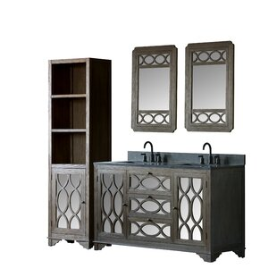 Bimini Solid Elm 60 Double Bathroom Vanity Set with Mirror by Rosecliff Heights