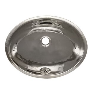 Whitehaus Collection Decorative Metal Oval Undermount Bathroom Sink with Overflow