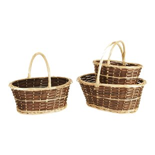 Read Reviews 3 Piece Two-Tone Willow Basket Set By WaldImports