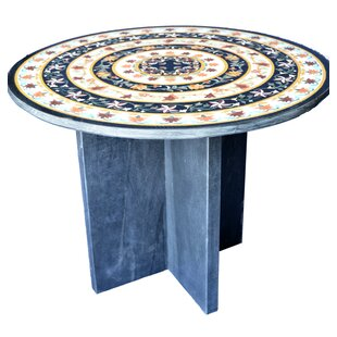 Concentric Inlay Marble Side Table by The Silver Teak #1