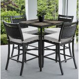 Dreketi Square 5 Piece Bar Height Dining Set with Sunbrella Cushions
