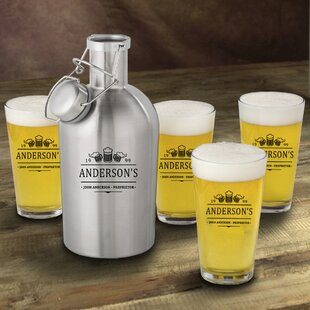 3 Beers Personalized 5 Piece Beverage Serving Set