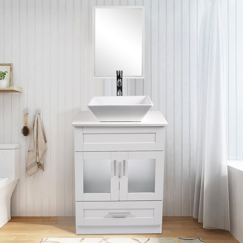 Latitude Run Westlake 24 Single Bathroom Vanity Set With Mirror Reviews Wayfair