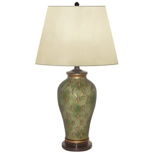 Reviews Garden Trelis Hand Painted Porcelain 27 Table Lamp By JB Hirsch Home Decor