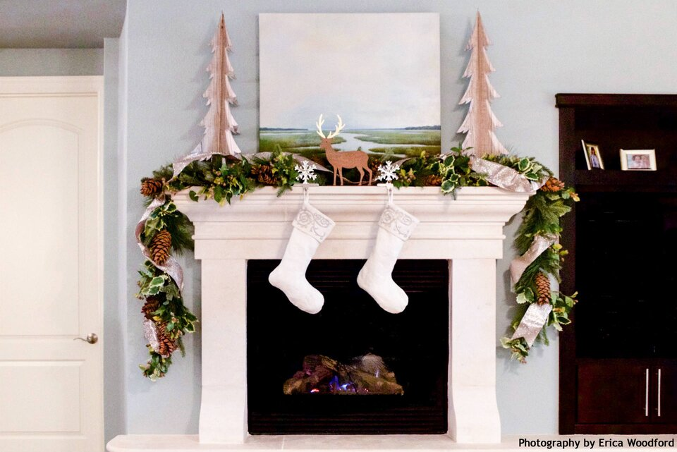 Heather Scott Heather Scott Home & Design Christmas fireplace mantel