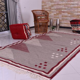 Affordable One-of-a-Kind Flaxville Handmade Kilim 5' x 6'7 Wool Off-White/Chili Red Area Rug By Isabelline