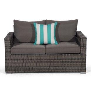 Review Giardino Grey Rattan 2 Seater Sofa Loveseat Outdoor Patio Garden Furniture With Cover