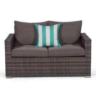 Giardino Grey Rattan 2 Seater Sofa Loveseat Outdoor Patio Garden Furniture With Cover Image