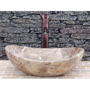 Inexpensive Stone Canoe Honed Emperador Marble Oval Vessel Bathroom Sink ByEden Bath