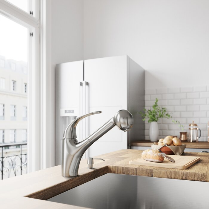 Alexander Pull Out Single Handle Kitchen Faucet with Optional Soap Dispenser