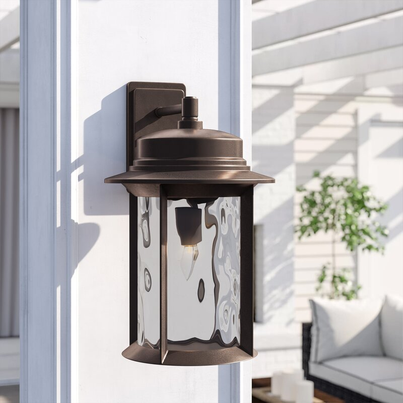 Three Posts Osmond 1 Light Glass Shade Outdoor Wall Lantern Wayfair