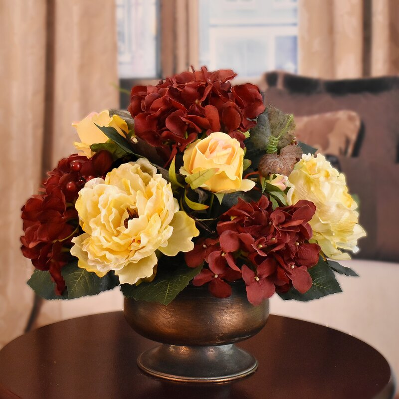 Astoria Grand Mixed Silk Floral Arrangement In Vase Reviews Wayfair