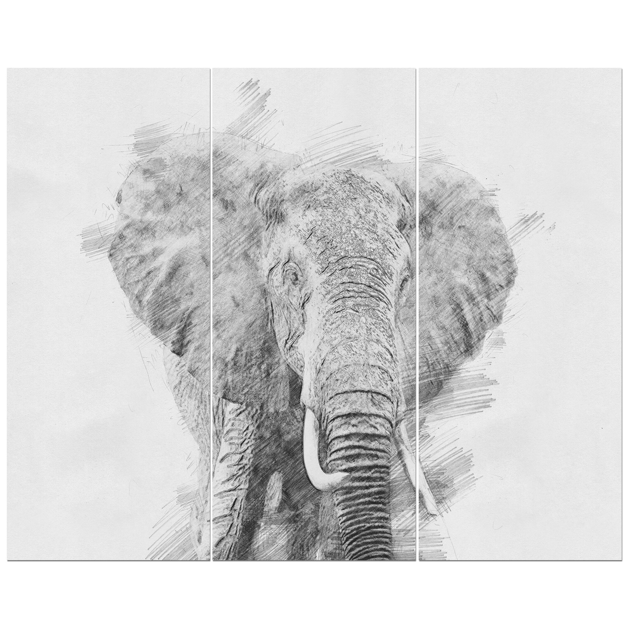 East urban home black and white elephant sketch oil painting print multi piece image on wrapped canvas wayfair