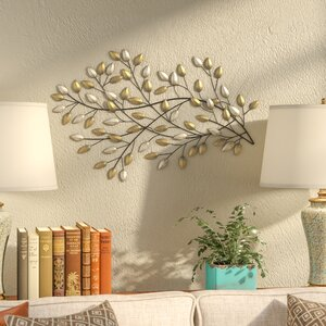 Champagne and Gold Metal Blowing Leaves Wall Du00e9cor