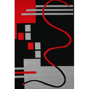 Best Reviews Vancouver Machine woven Polypropylene Black/Red Area Rug ByOrren Ellis
