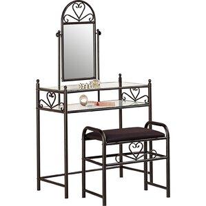 white metal vanity set. Fairfax Vanity Set with Mirror Bedroom  Makeup Vanities Joss Main