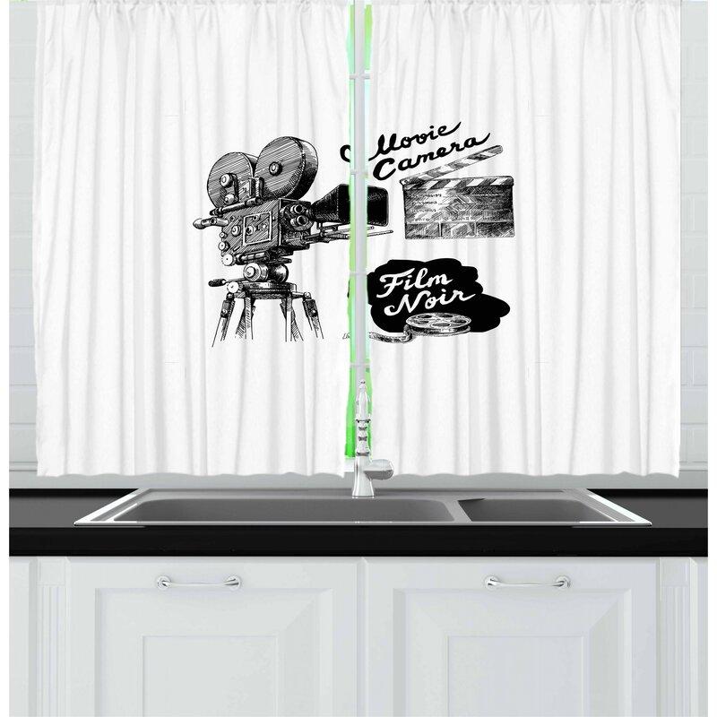 East Urban Home Movie Theater 2 Piece Kitchen Curtain Set Wayfair