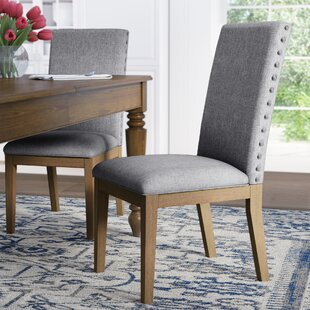 Tamarack Linen Nailhead Upholstered Dining Chair (Set of 2) Three Posts