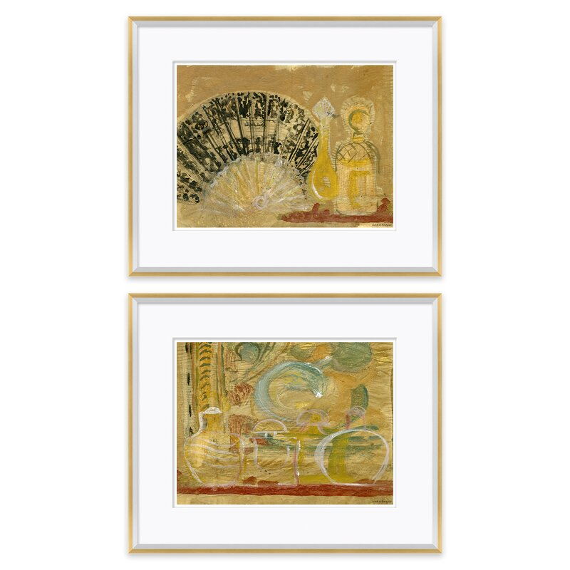 Soicher Marin Jars On Shelf And Andalucian Fan And Perfume Bottle By Isabelle De Borchgrave 2 Piece Picture Frame Painting Print Set On Paper Perigold