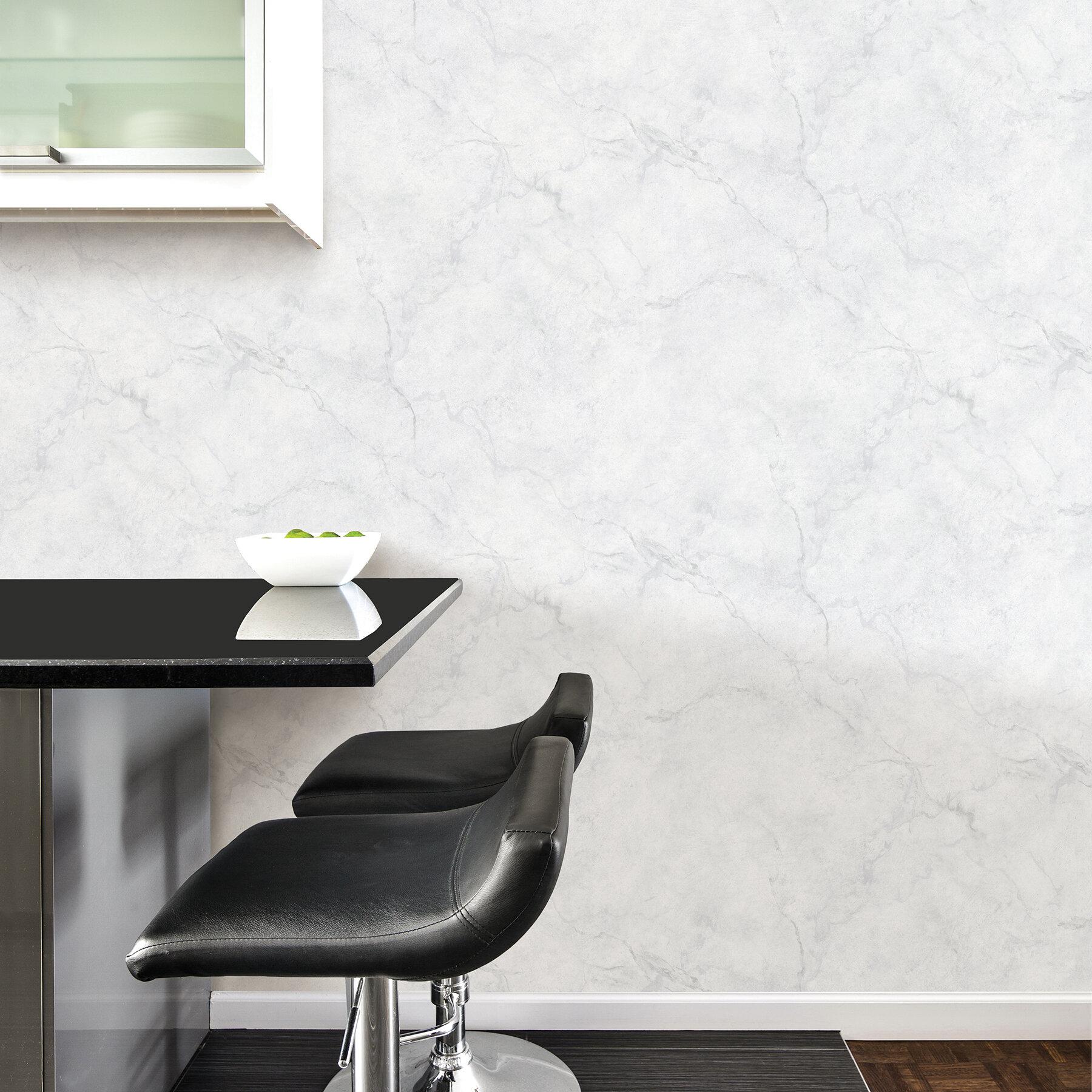 Slyvia 18 L X 20 5 W Carrara Marble Peel And Stick Wallpaper Reviews