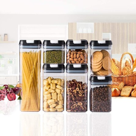 Airtight Food Storage Container Set - 7 PC Set Clear Plastic Canisters, BPA Free Dry Food Canisters For Kitchen Pantry Organization And Storage (Black)