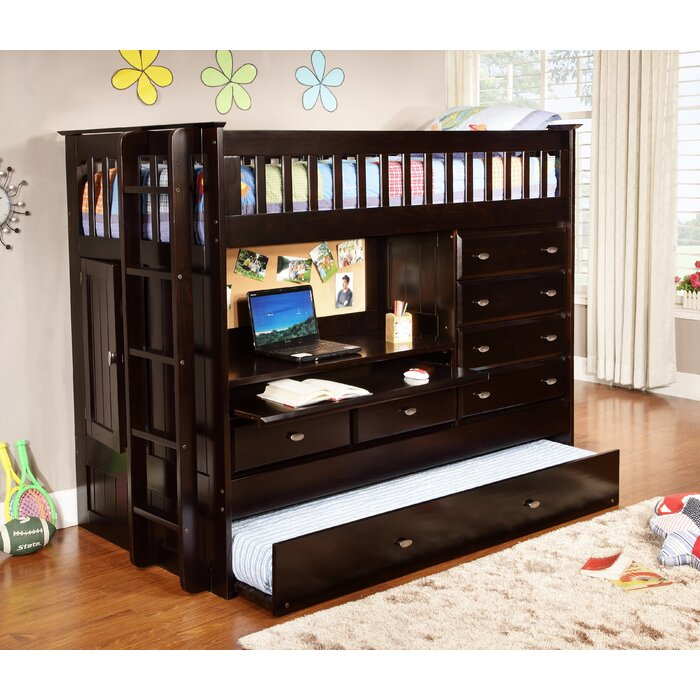 Norberto Twin Loft Bed with Trundle and Drawers
