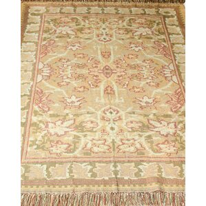 Arts And Crafts Kilim Hand Woven Celadon Area Rug