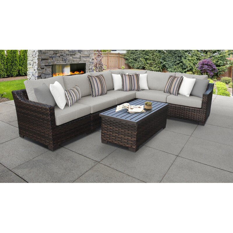 Kathy Ireland Homes Gardens By Tk Classics River Brook 7 Piece Wicker Rattan Sectional Seating Group With Cushions Reviews Wayfair